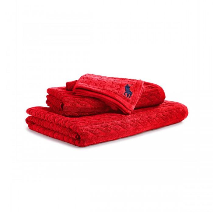 CABLE Rouge Serviette de bain